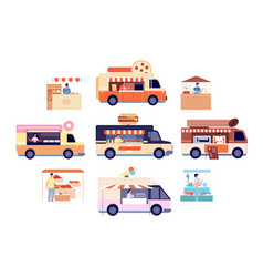 food truck tasty snacks transport isolated vector image