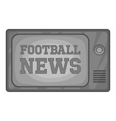 Football news on retro TV icon monochrome style vector