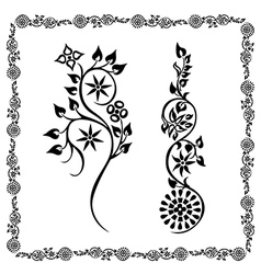 frame black two floral ornament vector image
