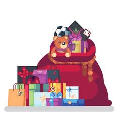 full bag of gifts from santa claus christmas vector image