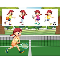 Girl doing different sports vector