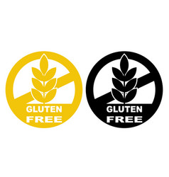 Gluten free label icons set no wheat symbols vector