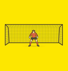 goalkeeper standing action soccer player vector image