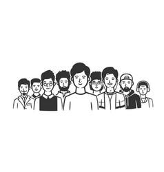 group men standing shoulder to shoulder vector image