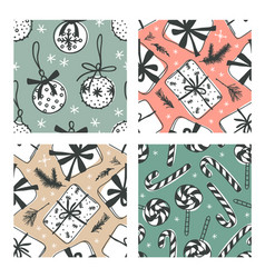 hand drawn christmas and new year creative ink vector image