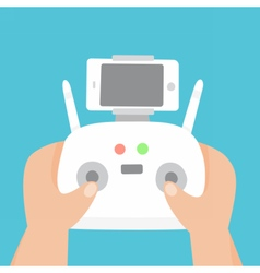 Hand holding control joystick with smartphone vector image