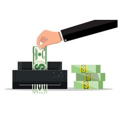 hand putting dollar banknote in shredder machine vector image