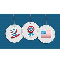 Hanging patriotic USA badges vector