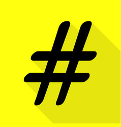 Hashtag sign black icon with flat vector