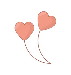 heart shape balloons love decoration vector image