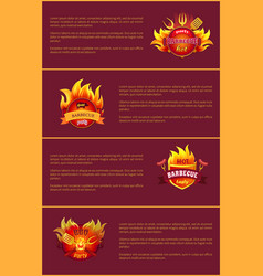 hot barbecue party posters set burn badges vector image
