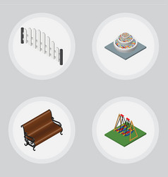 Isometric city set of plants seesaw barricade vector