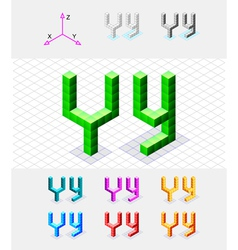 Isometric font from the cubes Letter Y vector