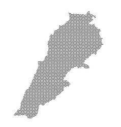 Lebanon map country abstract silhouette of wavy vector