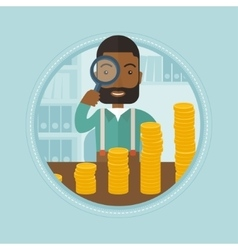 Man looking through magnifier at golden coins vector