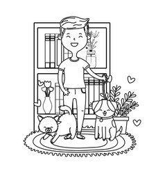 Man with cat and dog black and white vector