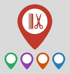 Map pointer with hair salon icon vector