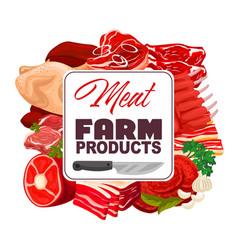 Meat of pork beef and chicken butcher shop food vector