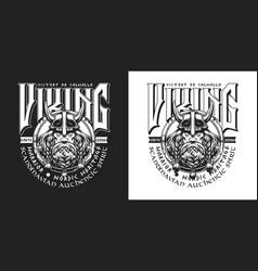 medieval scandinavian warrior vintage badge vector image