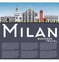 Milan Skyline with Gray Landmarks Blue Sky vector