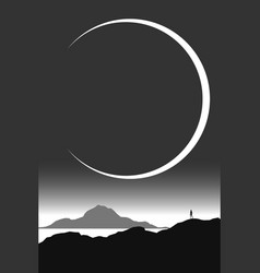 Minimal black and white landscape man watching vector