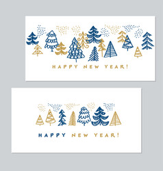 Minimal holiday christmas trees for invitation vector