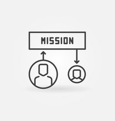 Mission simple icon in thin line style vector