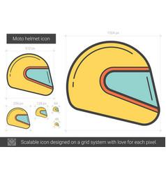 Moto helmet line icon vector