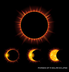 Phases of the total solar eclipse on dark vector