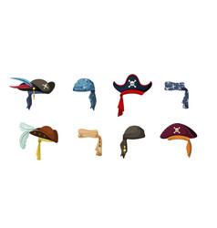 Pirate vintage hats set colorful headscarves vector