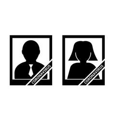 Portrait a coronavirus deceased icons vector