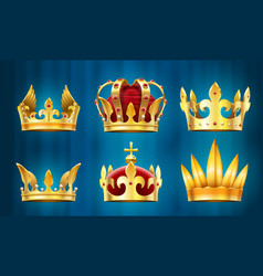Realistic royal crown king jewels monarchs vector