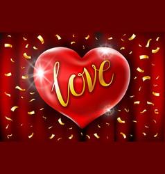 Red heart celebration balloons glitters 3d design vector