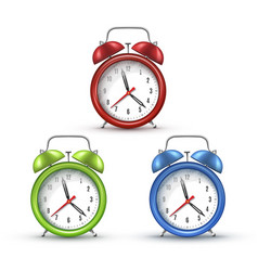 Retro alarm clocks with bells realistic vector