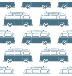 Retro vintage travel camper van with surfing board vector image