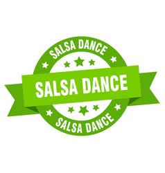salsa dance ribbon salsa dance round green sign vector image