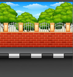 Scenery of a street with brick fences and green pl vector