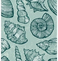 Sea shell seamless background vector