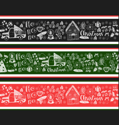 seamless border with christmas elements vector image