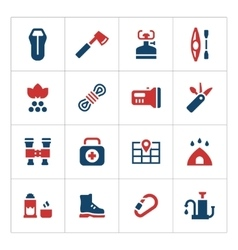 Set color icons of camping vector