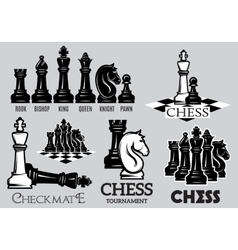 Set emblems and signs for the chess tournament vector