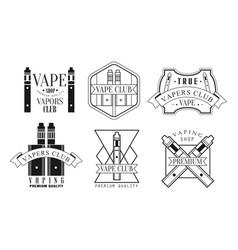 Set logos for vape shop vector