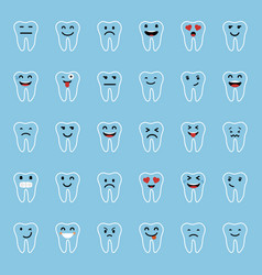 set of emoticons tooth character with different vector image