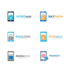Set of phone logo combination mobile and gadget vector