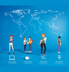 Set of students with gadgets on map background vector