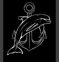 silhouette dolphin around an anchor with a rope vector image