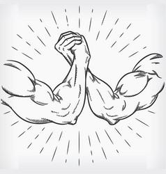 Sketch strong arm wrestling fighting doodle hand vector