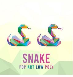 Snake animal pet pop art low poly line logo icon vector