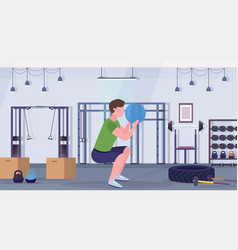 Sporty man doing squats exercises with medicine vector