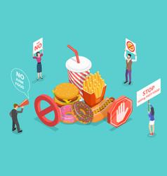 stop eating junk food fast food danger no health vector image